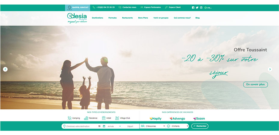 Site internet Odesia Vacances
